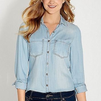 chambray button down shirt in light wash with back slit | maurices