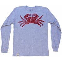 Red Crab: Unisex Fine Jersey Long Sleeve T-Shirt in Heather Grey
