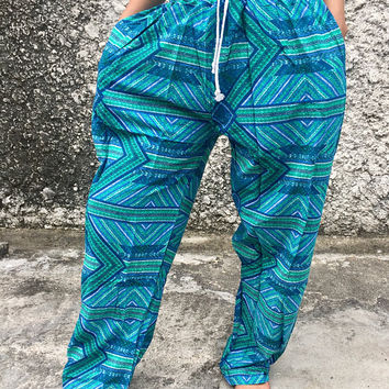 boho Aztec pattern pants Summer beach Soft fabric Yoga Baggy Style Gypsy Hipster Plus Size Harem Aladdin Trousers fashion holiday men Blue
