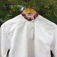 Antique Ukrainian Men's Vyshyvanka / Traditional Hand Embroidered Homespun Flax Shirt: Red & Black Flowers, Banded Collar Embroidery, S