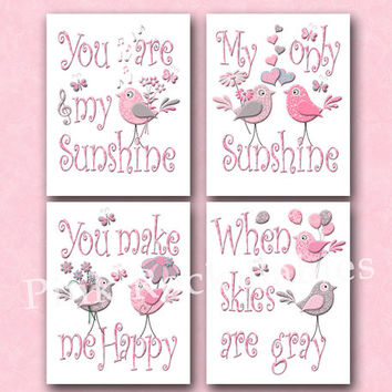 You are my sunshine bird nursery wall decor kids room words poster children art playroom decoration toddler baby girl room artwork pink grey