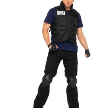 DCCKLP2 4PC.SWAT Commander,utility vest,shirt,knee pads,fingerless gloves in BLACK