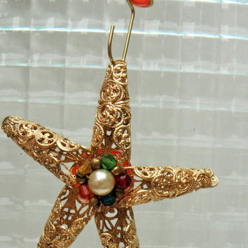 Gold Star Ornament, Starfish Ornament, Metallic Ornament, Christmas Ornament, Repurposed Jewelry, Sun Catcher, Window Decoration, Gift Idea