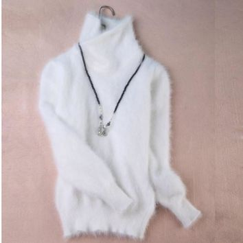 New genuine mink cashmere sweater women 100% mink cashmere pullovers with turtleneck collar free shipping S294