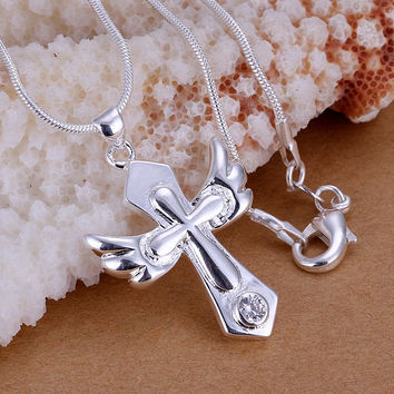 silver-plated necklaces amp; pendants Small Wings Cross collares love MP