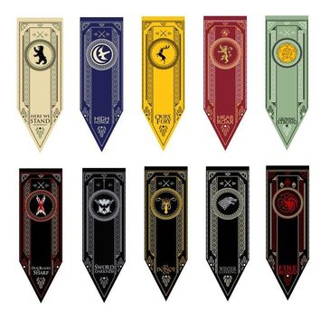 New Games Of Thrones Flag Stark & Tully & Targaryen & Lannister & Baratheon & Martell & Bolton Cosplay Flag Model Toys 45*150cm