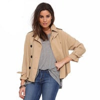 Loose Button Outerwear Jacket Windbreaker a13241