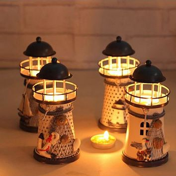 Hot-selling Mediterranean-style Lighthouse Wrought Iron Candlestick Candle Holders Home Decoration Candlestick  T16 0.5