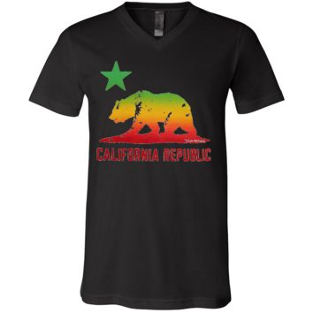 Rasta Bear Flag Silhouette Asst Colors V-Neck