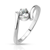 Cherish - FINAL SALE Twirl Design Stainless Steel with Round Cut Solitaire Cubic Zirconia Engagement Ring