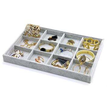 PuTwo Jewellery Organiser Lint Drawer Organiser Display Box Birthday Gifts for Her - 12 Sections