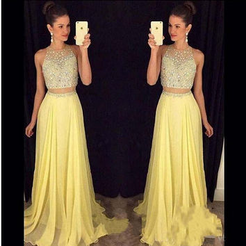 Bling Bling Top Two Pieces Bridesmaid Dress Gold 2016 Abito Damigella Wedding Party Dress Elegant New Bridesmaid Dress BD59