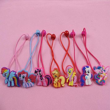 Fashion Baby Children Cute my little pony Cartoon Hair Rope multi-color 2pcs/lot Girls Hairpins