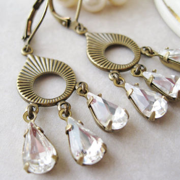 Art Deco Earrings, Crystal Bridal Jewellery, Vintage Style, Clear Drop Earrings, Art Deco Wedding, Crystal Chandelier Earrings