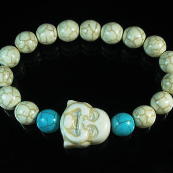 Tibet Buddhism Turquoise White Smile Buddha Round White Baby Blue Beads Prayer Mala Stretchy Bracelet ZZ2298