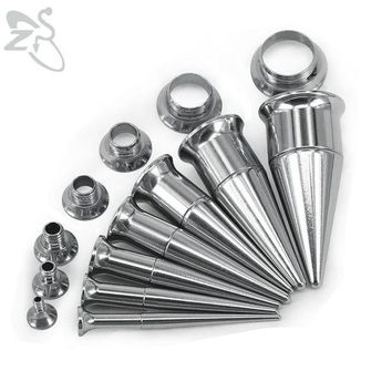 ac DCCKO2Q Trendy Double Flared Ear Plug Tunnel Stainless Steel Screwed Ear Tapers Stretching Kits and Tunnel Ear Gauges Piercing Jewelry