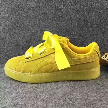 Puma Rihanna Silk Bowknot Fashion Sport Casual Shoes Sneakers yellow