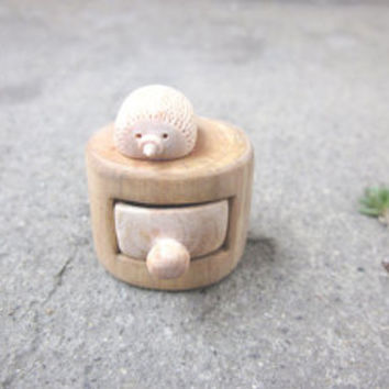 Miniature cabinet with a cute little hedgehog, miniature wood carving, Wood sculpture, Drawer