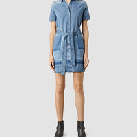 ALLSAINTS US: Womens June Denim Dress (Indigo Blue)