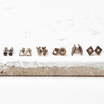 Etched Charm Stud Set