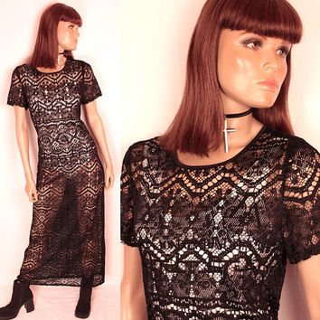 1990s crochet maxi // sheer black