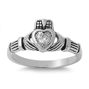 925 Sterling Silver CZ Grand Claddagh Ring 9MM