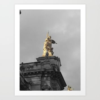 Paris architecture black and white with color GOLD Art Print by Mr Splash