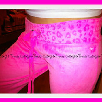 NWT Victorias Secret LOVE PINK velour cheetah leopard print NEON sweat pants L