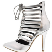 Clearance- Silver Laced High Heels