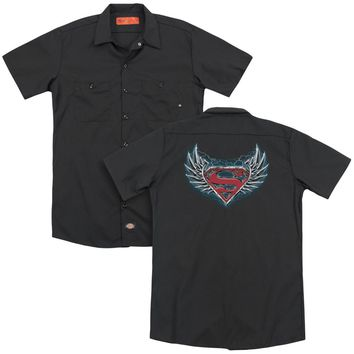Superman - Steel Wings Logo(Back Print) Adult Work Shirt