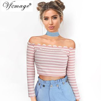Vfemage Womens Sexy Wavy Off Shoulder Stripe Long Sleeve Crop Top Girls Chic Summer Stretch Casual Beach Party Shirt Blouse 4938