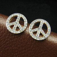 Rhinewtone Anti-war stud earrings