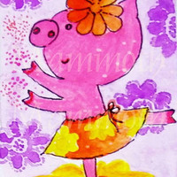 Pig art watercolor digital download watercolor farmhouse wall decor -cute pig dancing art sunflower download -Whimsical pig animal -wall art