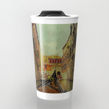 Venice, Italy Canal Gondola View Travel Mug by Theresa Campbell D'August Art