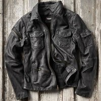 Effortlessly Cool Men's Jackets - Lake Effect Leather Jacket - Carbon2Cobalt