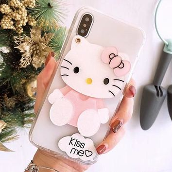 lovely kawaii hello kitty kitten mirror cover for apple iphone 6 6s plus iPhone 7 7P 8 8P X soft mobile phone Case capa