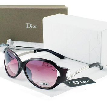 Dior Stylish Women Men Simple Sun Shades Eyeglasses Glasses Purple Black Frame I