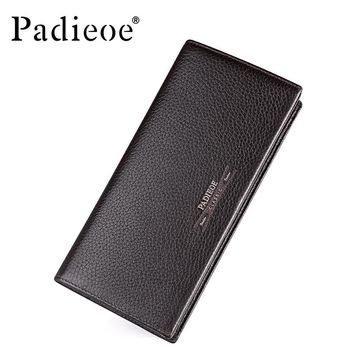 New Fashion Long Wallets for Male Cowhide Genuine Leather Coin Purse Men's Credit Card Holder