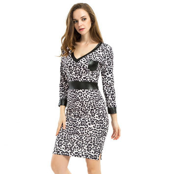 6XL Women Leopard Summer Dress 2016 Vintage Print Faux Leather Patchwork V-Neck Bodycon Dress Casual Midi vestidos Plus Size