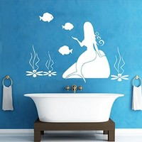 Wall Decals Sea Ocean Fish Mermaid Lotus Stone Decal Vinyl Sticker Bathroom Nursery Home Decor Art Mural Ms698