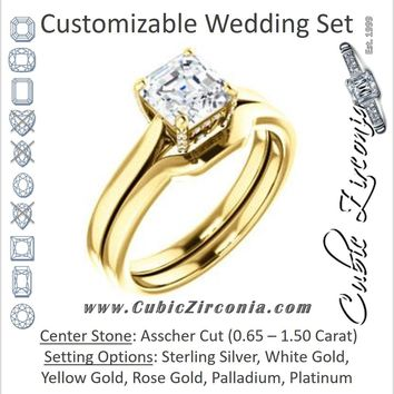 CZ Wedding Set, featuring The Aimy Jo engagement ring (Customizable Cathedral-Raised Asscher Cut with Prong Accents)