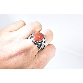 Vintage 1980's Gothic Silver Genuine Red Carnelian Cross Men's Ring