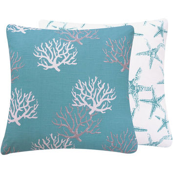 Turquoise Coral Decorative Throw Pillow Cover 20x20 Starfish Beach Coastal Decor, Reversible Cushion Cover - Wonders of the Seas Turquoise