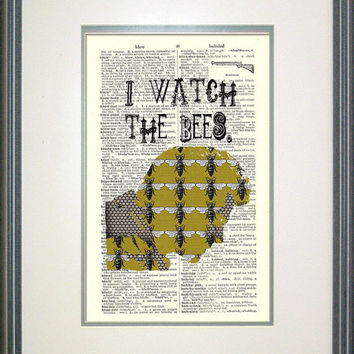 I Watch The Bees Print on Vintage Book Page, Castiel, Supernatural, Destiel, SPN, Print on Book Page, Fandom Art