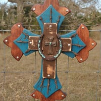 Turquoise,Brown, Barbwire and Horseshoe Wall Cross