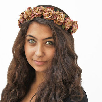 Gold Rose Headband. Gold Flower Crown, Gold, Vintage Inspired, Rose Flower Crown, Gift Guide, Floral Crown, Hippie Headband, Boho Chic