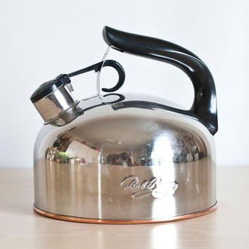 Revere Ware Whistling Kettle, Copper Bottom Revereware Stovetop Teapot, Vintage Kitchen Cookware