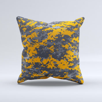 Orange and Gray Digital Camouflage  Ink-Fuzed Decorative Throw Pillow