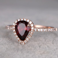 6x8mm Oval Garnet Engagement Ring Diamond Wedding Ring 14k Rose Gold Halo Pave Design