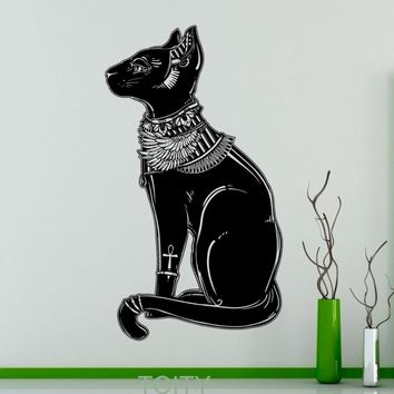 Bastet Egyptian Cat Wall Decal Vinyl Sticker Mural Design